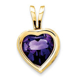 6mm Heart Amethyst Bezel Pendant 14k Gold XP312AM