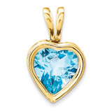 6mm Heart Blue Topaz bezel pendant 14k Gold XP312BT