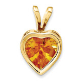 6mm Heart Citrine bezel pendant 14k Gold XP312CI