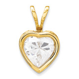 6mm Heart Cubic Zirconia bezel pendant 14k Gold XP312CZ
