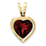 6mm Heart Garnet bezel pendant 14k Gold XP312GA