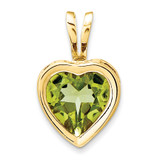 6mm Heart Peridot bezel pendant 14k Gold XP312PE