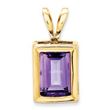 7x5mm Emerald Cut Amethyst bezel pendant 14k Gold XP314AM