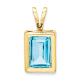 7x5mm Emerald Cut Blue Topaz bezel pendant 14k Gold XP314BT