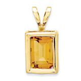 7x5mm Emerald Cut Citrine bezel pendant 14k Gold XP314CI