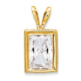 7x5mm Emerald Cut Cubic Zirconia bezel pendant 14k Gold XP314CZ