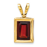 7x5mm Emerald Cut Garnet bezel pendant 14k Gold XP314GA