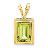 7x5mm Emerald Cut Peridot bezel pendant 14k Gold XP314PE