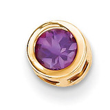 5mm Amethyst bezel pendant 14k Gold XP320AM