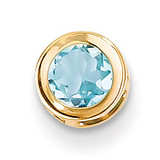 5mm Blue Topaz bezel pendant 14k Gold XP320BT
