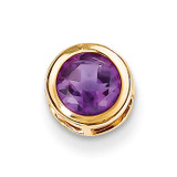 6mm Amethyst bezel pendant 14k Gold XP321AM