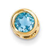 6mm Blue Topaz bezel pendant 14k Gold XP321BT
