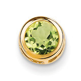 6mm Peridot bezel pendant 14k Gold XP321PE