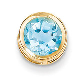 7mm Blue Topaz bezel pendant 14k Gold XP322BT