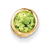 7mm Peridot bezel pendant 14k Gold XP322PE