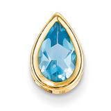9x6mm Pear Blue Topaz bezel pendant 14k Gold XP325BT