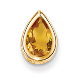 9x6mm Pear Citrine bezel pendant 14k Gold XP325CI