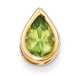 9x6mm Pear Peridot bezel pendant 14k Gold XP325PE