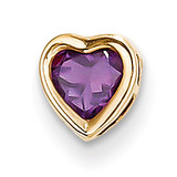 5mm Heart Amethyst bezel pendant 14k Gold XP326AM