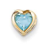 5mm Heart Blue Topaz bezel pendant 14k Gold XP326BT