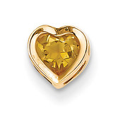 5mm Heart Citrine bezel pendant 14k Gold XP326CI