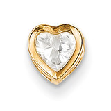 5mm Heart Cubic Zirconia bezel pendant 14k Gold XP326CZ