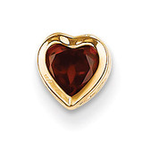 5mm Heart Garnet bezel pendant 14k Gold XP326GA