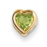 5mm Heart Peridot bezel pendant 14k Gold XP326PE