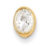 7x5mm Oval Cubic Zirconia bezel pendant 14k Gold XP328CZ