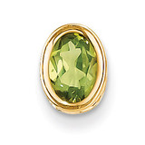 7x5mm Oval Peridot bezel pendant 14k Gold XP328PE
