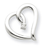Diamond Heart Chain Slide 14k White Gold XP3579AA