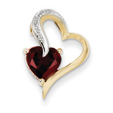 Diamond and Garnet Heart Pendant 14k Gold XP3884GA/AA