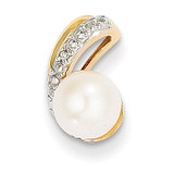 Diamond and 6-7mm Round Cultured Pearl Pendant 14k Gold XP4153