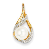 Diamond and 7-8mm Round Cultured Pearl Pendant 14k Gold XP4156