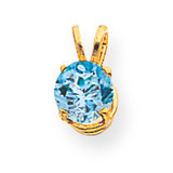 6mm Blue Topaz pendant 14k Gold XP416BT