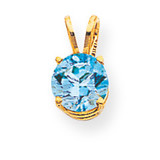 7mm Blue Topaz pendant 14k Gold XP417BT