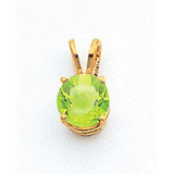 7mm Peridot pendant 14k Gold XP417PE