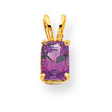 7x5mm Emerald Cut Amethyst pendant 14k Gold XP420AM
