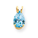 10x7mm Pear Blue Topaz pendant 14k Gold XP427BT