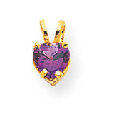 5mm Heart Amethyst pendant 14k Gold XP428AM