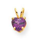 6mm Heart Amethyst pendant 14k Gold XP429AM
