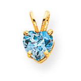 6mm Heart Blue Topaz pendant 14k Gold XP429BT