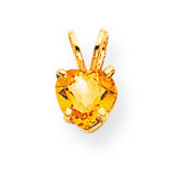 6mm Heart Citrine pendant 14k Gold XP429CI