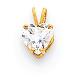 7mm Heart Cubic Zirconia pendant 14k Gold XP430CZ