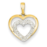 Diamond Double Heart Pendant 14k Gold XP4353AA