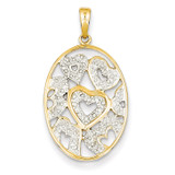 Diamond Hearts in Oval Pendant 14k Gold XP4436AA