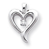 Diamond heart pendant 14k White Gold XP571WAA