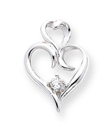 Diamond heart pendant 14k White Gold XP591AA