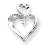 Diamond heart pendant 14k White Gold XP592AA