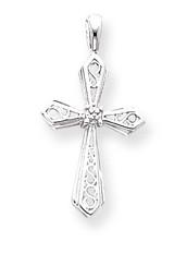 Diamond Cross Pendant 14k White Gold XP763WAA